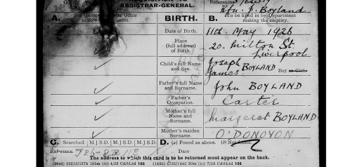 joseph boyland birth