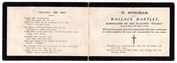 Memorial Card for Wallace Henry Hartley