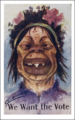 Anti_suffragettes_postcard_(c._1909)_face_of_an_ugly_dimwitted_woman_with_sharp_teeth