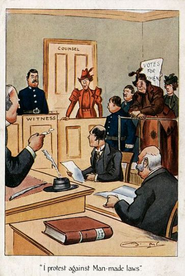 Note the rumpled and bruised suffragette in court