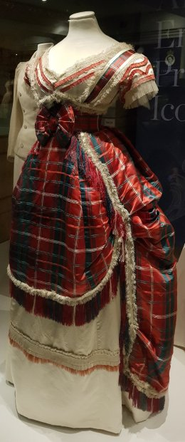 Tartan silk dress c.1870