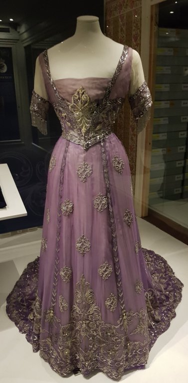 Embroidered purple silk chiffon c.1910