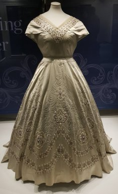 Grey silk gown with beaded decoration Norman Hartnell 1954