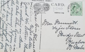 Postcard dated 28 March 1910 - and posted from New Brighton and stamped at 5.15 p.m.