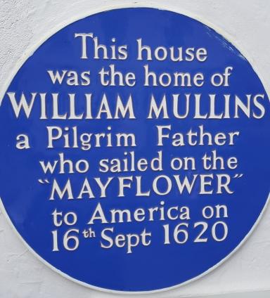 Plaque commemorating the home of Pilgrim Father, William Mullins