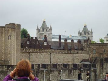 Tower Bridge seen through the Tower of London