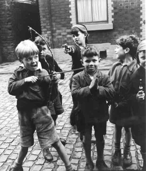 Boys playing in Liverpool 1953