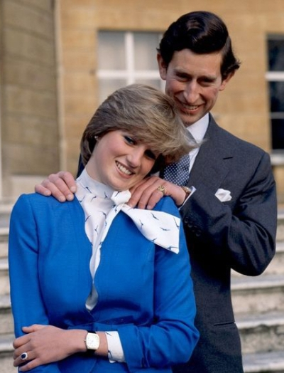 Prince Charles and Lady Diana Spencer on the day their engagement was announced, 24 February 1981