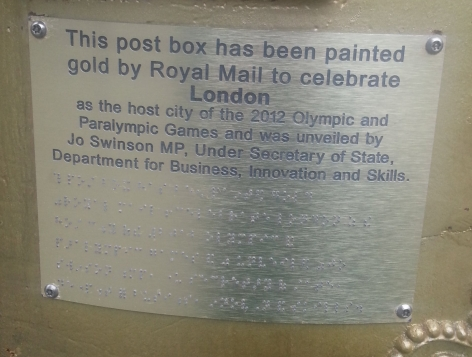 Plaque dedicated to the London 2012 games, Westminster