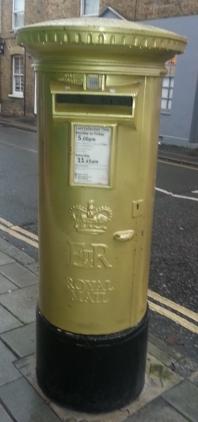 Gold post box dedicated to Sir Mo Farah, Teddington