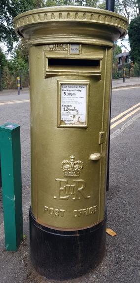 Gold post box dedicated to Sir Andy Murray, Wimbledon