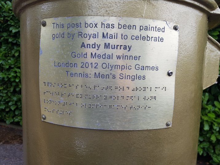 Plaque honouring Olympian Sir Andy Murray (London 2012 games)