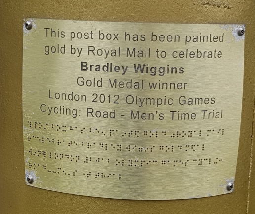 Plaque commemorating Olympian Sir Bradley Wiggins (London 2012 games)