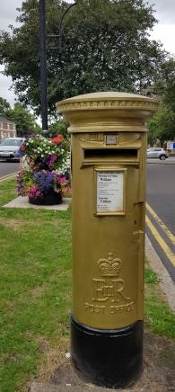 Gold post box commemorating Olympian Sir Bradley Wiggins, Chorley
