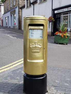 Gold post box dedicated to Sir Andy Murray, Dunblane