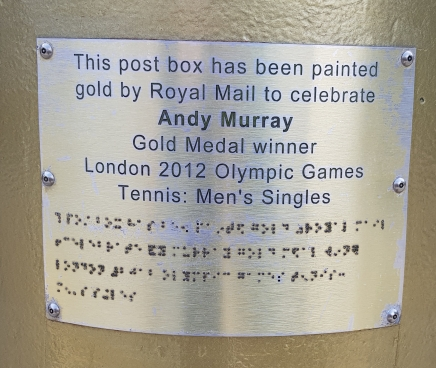 Plaque commemorating Sir Andy Murray's gold medal at the London 2012 games