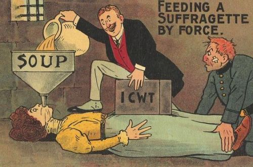 An imprisoned suffragette being force-fed