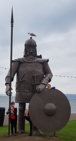 Viking statue, Largs, Scotland (along with a seagull - and 3 pesky kids!)