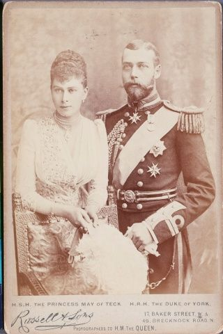 Princess May of Teck (Mary) and George, Duke of York, Later King George V and Queen Mary, on their engagement (Photo: Pinterest)