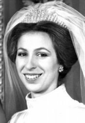 Princess Anne, wearing Queen Mary's Fringe Tiara for her first wedding, 1973