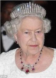 Queen Elizabeth II wearing Queen Mary's Fringe Tiara (she also wore it for her 1947 marriage)