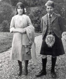 Elizabeth Bowes-Lyon with her brother David. World War One was declared on Elizabeth's fourteenth birthday