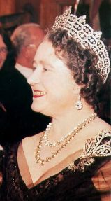 Queen Elizabeth the Queen Mother wearing the Boucheron Honeycomb Tiara in 1961