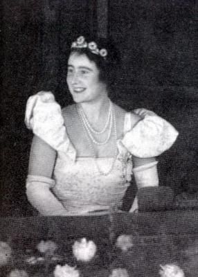 The Duchess of York wearing the Strathmore Rose Tiara in a more convential setting further back on the head