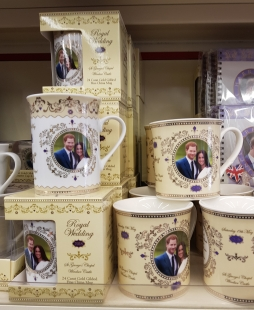 Unofficial souvenirs of the wedding of Prince Harry to Meghan Markle in Windsor town centre