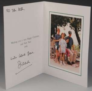 Christmas card from Diana, Princess of Wales, 1996