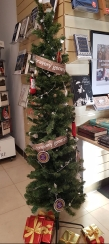 The slender Christmas tree at the National Archives shop