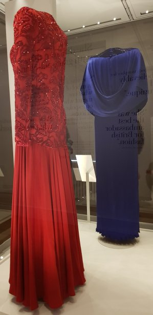 The rear of Diana's red Bruce Oldfield and blue Yuki evening gowns (with reflection)