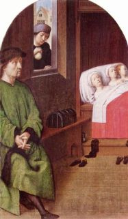 Saint Nicholas gifting gold through the window to the father of the three daughters (Gerard David circa 1500 - 1510)