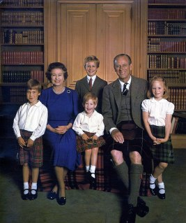 Prince William, Queen Elizabeth II, Peter Phillips (rear), Prince Harry (front) Prince Philip, Zara Phillips