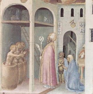 St Nicholas resurrecting three boys (Gentile da Fabriano circa 1425)