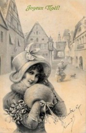 French Christmas Postcard dated 1907