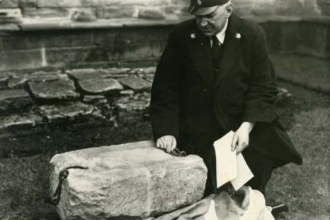 Stone of Scone at Arbroath​ Abbey, April 1951