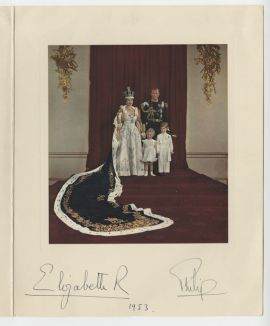 Queen Elizabeth II, Prince Philip, Princess Anne and Prince Charles, 1953