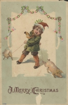 Christmas_greeting_card_featuring_small_child_with_two_pigs_