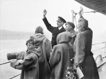 King Haakon VII returning to Norway on HMS Norfolk, June 1945
