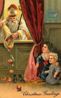 Saint Nicholas delivering goodies in the shoes of waiting children (Image: Pinterest)