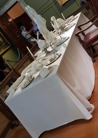 Public Dining Table with folded linen decorations