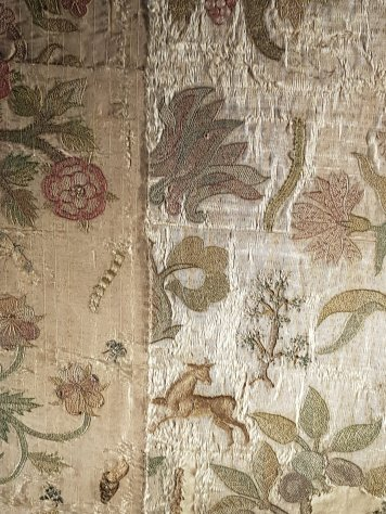 The Bacton Altar Cloth, showing flora and fauna and even a Tudor rose